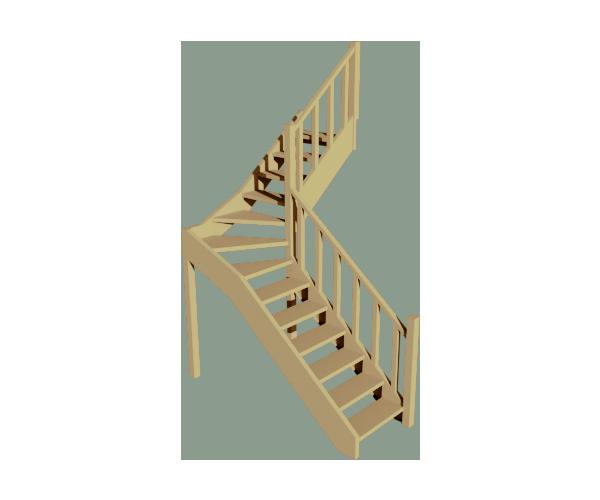 Рендр Г образная лестница с забежными ступенями 1